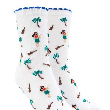 Palm Tree Print Crew Socks