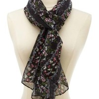 Lightweight Pin Dot & Floral Print Scarf
