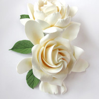 Two Wedding Gardenia hair clips. White, Ivory Gardenia. Two Gardenia.