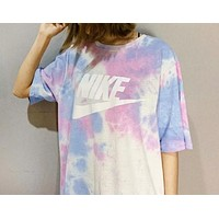 NIKE New fashion letter hook print tie dyeing top t-shirt women