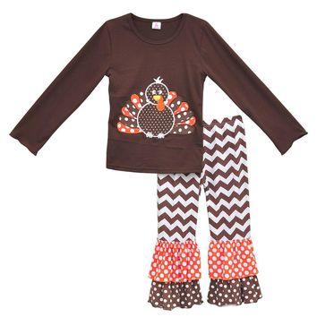 American Girl Thanksgiving Turkey 2 Pcs Outfits Knitted Cotton Top Chevron Stripes Double Ruffle Pants Kids Winter Suits T004