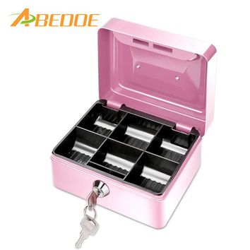 ABEDOE Small Metal Money Coin Cash Safe Box Piggy Bank with Lock 6 Compartments Cash Box Home Decor Craft Gift For Kids Children