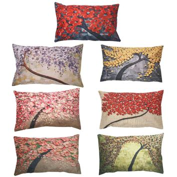 Chic Flower Cushion Cover Mural Yellow Red Tree Wintersweet Cherry Blossom Home Decorative Throw Pillow Cover