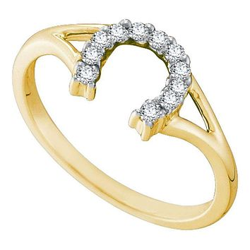 10kt Yellow Gold Women's Round Diamond Lucky Horseshoe Split-shank Ring 1/10 Cttw - FREE Shipping (US/CAN)
