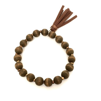 Friends Forever Wood & Tassel Bracelet