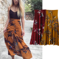 New hot sale show thin slit print flower Cotton crepe skirts long skirt