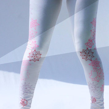 Geo Stars - Hand printed Organic Stretch Cotton Legging, Eco fashion made by hand, and Made to Order