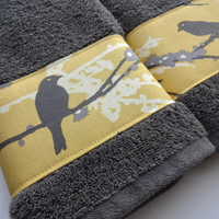 Charcoal Grey Towels, hand towels, towel, bath towels, gray and yellow, Joel Dewberry, custom towels, decorated towels, august ave,