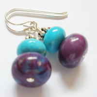 Purple Kingman Mine and Blue Turquoise Earrings on Sterling Silver, Turquoise Jewelry, Gemstone Jewelry, Multicolored