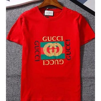 DCCKR2 Hot Sale  Gucci  Stylish  Men Loose Letter Print T-Shirt Short Sleeve Top.Red W-GQHY-DLSX