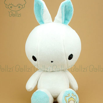 Cute Rabbit Plush Stuffed Animal Toy White Teal Contrast Bunny Plushie - Bellzi® Bunni