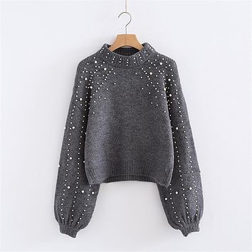 Winter Spring Women Pullover Sweaters Grey Elegent Pearl Beaded Rib Knit Jumper Stand Collar Long Sleeve Tight Sweater 6Q0692
