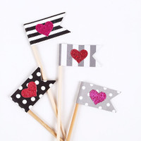 Glitter Heart Flag Cupcake Toppers - 12 Black, White, Gray, Pink Red Valentine's Toppers - Valentine's Day Decor // Birthday Party