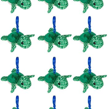 12 Pack Turtle Stuffed Animal, Backpack Clip Toy Keychain, 4 Inch Plush Kids Party Favors
