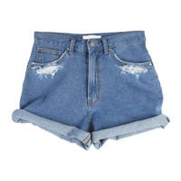 Pocket Damaged Blue Short Pants