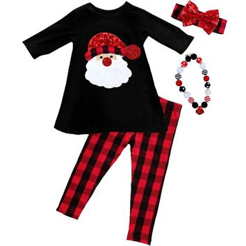Red Plaid Santa Outfit Buffalo Black Red Sparkle Top And Pants