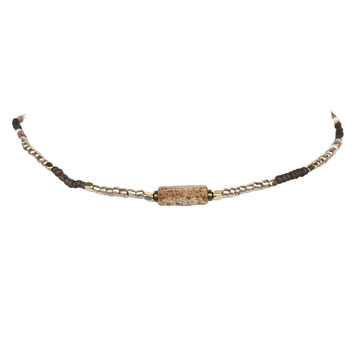 Pretty Please Bead Choker In Brown