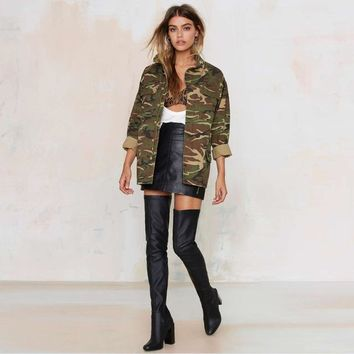Camouflage womens jacket stylish hunting coat loose fit collared Military style