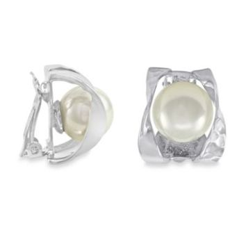 Majorica 10MM Round White Simulated Pearl Ribbon Clip-On Earrings in Sterling Silver