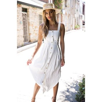 Women Solid Color Fashion Sleeveless Strap Strapless Buttons Dress