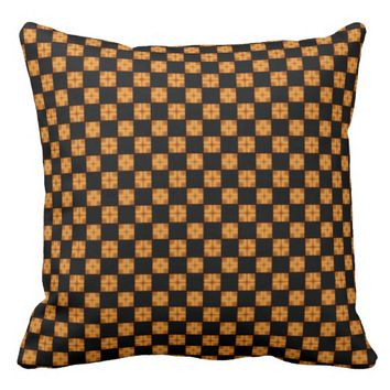 Black Tan and Brown Checkerboard Throw Pillow