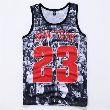 2017 Summer Style Mens Vest Europe Fashion Retro 3D Print  Star Jordan 23 number New York Gridding O-Neck casaul Tank Tops