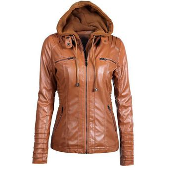 Women's New Arrival Fashion PU Leather Hooded Lapel Zipper Pockets Stylish Jackets White/Black/Coffee/Khaki/Apricot