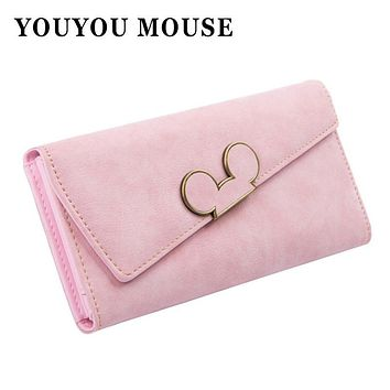 YOUYOU MOUSE Fashion Long Women Leather Wallet Hit Color Ladies Wallet Creative Design Hasp Clutch Coin Pocket Card Holder