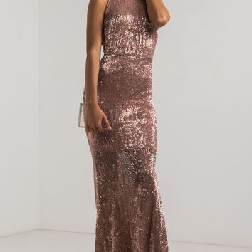 AKIRA High Neck Sequin Mermaid Skirt Open Side Ribbon Maxi Dress in Rose Gold