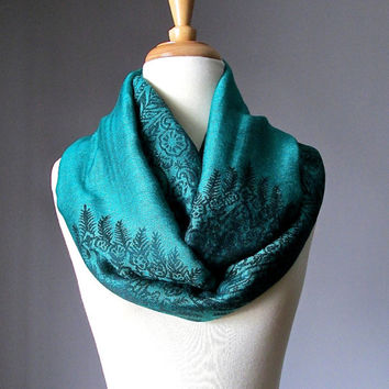 Green scarf, Emerald green infinity scarf, paisley scarf, long scarf, floral scarf, Gift  for her, Birthday gift, women accessories