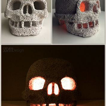 Skull Candle Holder/ Pumice Stone Skull/ Skull Tea Light Candle Holder/ Gothic Decor/ Skull Decor/