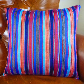 Decorative Throw Pillow Cover 14 x 14 - Tribal African Kente Cloth - Bright Blue Bold