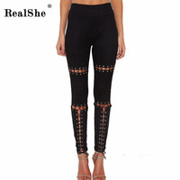 RealShe 2017 Suede Leather Pants High Waist Lace Up High Waist Slim Skiny Pant Women's Cross Bodycon Pencil Pants Trousers