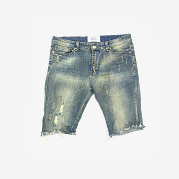 Vintage Washed Destroyed Denim Short