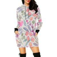 Floral Girly cute Pattern All Over Print Hoodie Mini Dress (Model H27) | ID: D2391762