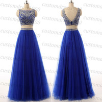 Long evening dress,royal blue evening dress,handmade cap sleeve beading tulle formal evening gowns/prom dress/party dress