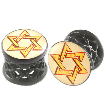 Shield Of David Logo Double-Flared Plug [Gauge: 1/2 inch - 12mm] Alloy (Black) // Set of 2