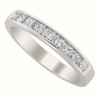 Sterling Silver CZ Princess Cut Wedding Band Ring size 5-10