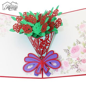 3D Rose Flowers Laser Cut Pop Up Greeting Card Handmade Paper Craft Cards Valentine's Day Gifts Invitation Cards Postcards DIY