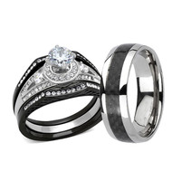 Wedding Engagement Ring Set CZ Black Stainless Steel & Titanium Band