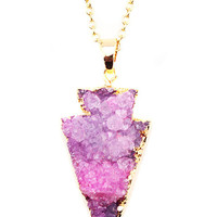 Pink Gold Plated Arrow Druzy Necklace