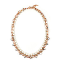 Spheres of Influence Single Row Sphere Necklace w/ Pearls - Rose Gold/ Rhodium/ Cream Pearls