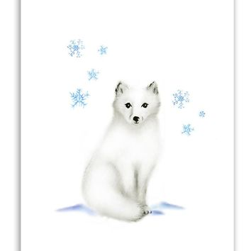 Arctic Fox Nursery Art Print