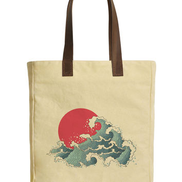 The Great Wave off Kanagawa-1 Beige Print Canvas Tote Bag Leather Handles WAS_30