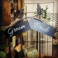 Mini Bride and Groom Painted Chalkboard Signs