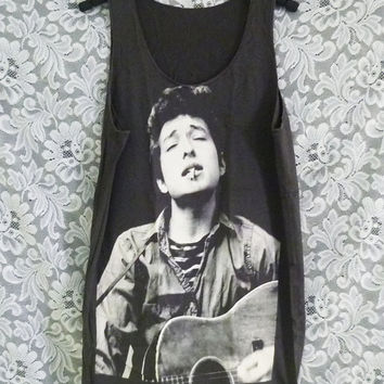 Bob Dylan shirt american singer printing workout tank top/ sleeveless tank/ clothes /tee shirts/ sale clothing size M
