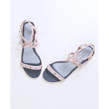 Studded Lace-Up Plastic Pink Sandals by Melissa X Jason Wu