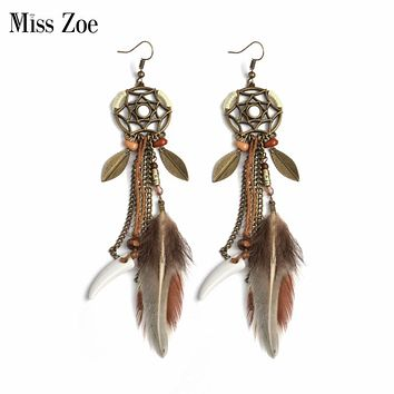 Miss Zoe Indian Style Dreamcatcher Long Feather Drop Earrings Beads Danglers Bohemia Ethnic Vintage Charm BOHO Holiday Jewelry