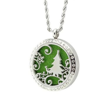 Christmas Essential Oil Locket Diffuser Necklaces (with or without rhinestones)