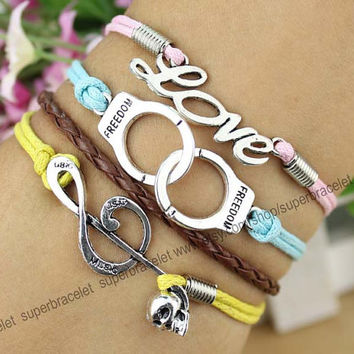 Friendship LOVE bracelet - handcuffs bangle bracelet - note - pink - light blue - yellow leather rope - gift for girlfriend and BFF